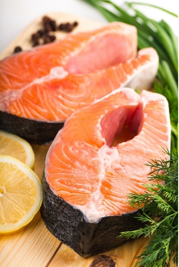 salmon steaks uncooked