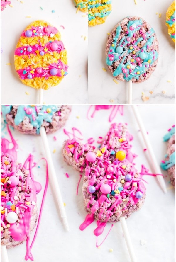 Easter Rice Krispie Treat eggs and bunnies on lollipop sticks