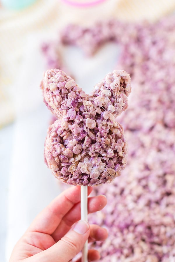 Bunny shaped purple Easter Rice Krispie Treat on a stick