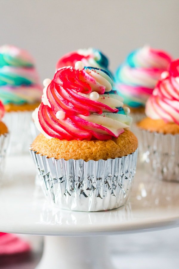 Cupcake with red white and blue frosting