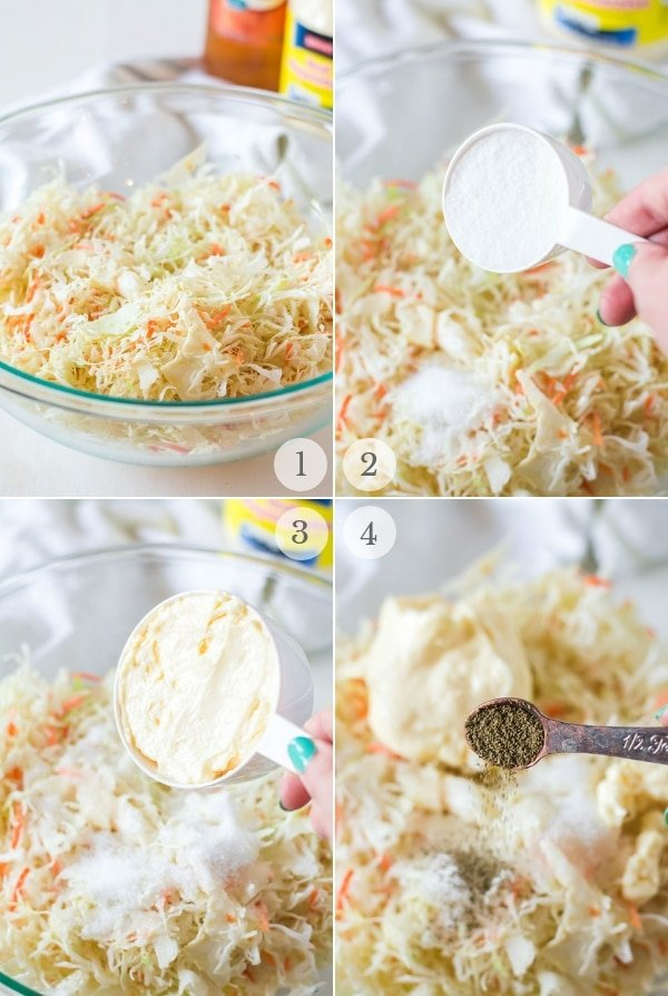Coleslaw recipe steps photo collage