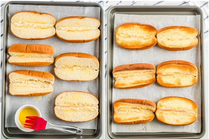 Toasted hot dog buns for shrimp salad sandwiches