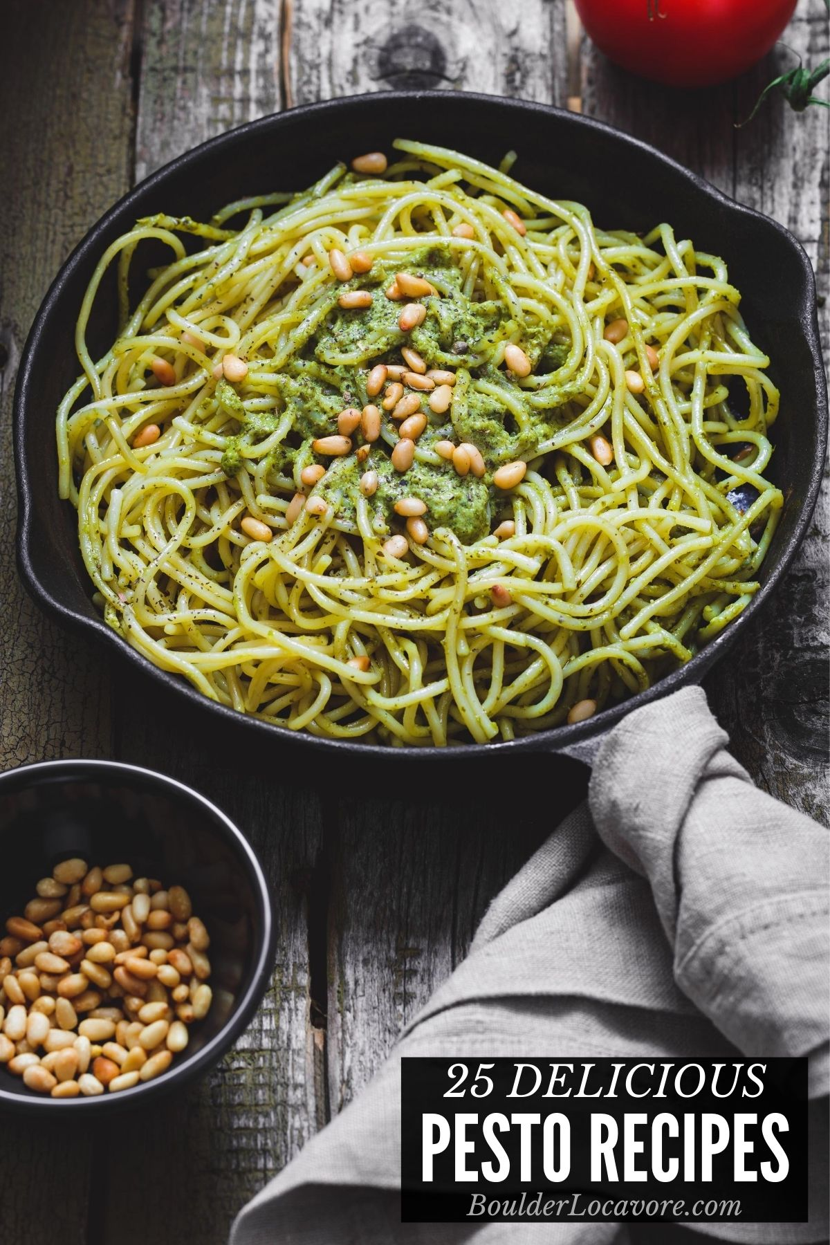 pesto with pasta in skillet