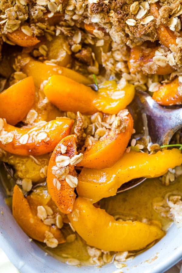 juicy sliced apricots cooked in a crumble recipe