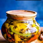 Roasted Peppers in Oil with Garlic + How to Roast Peppers