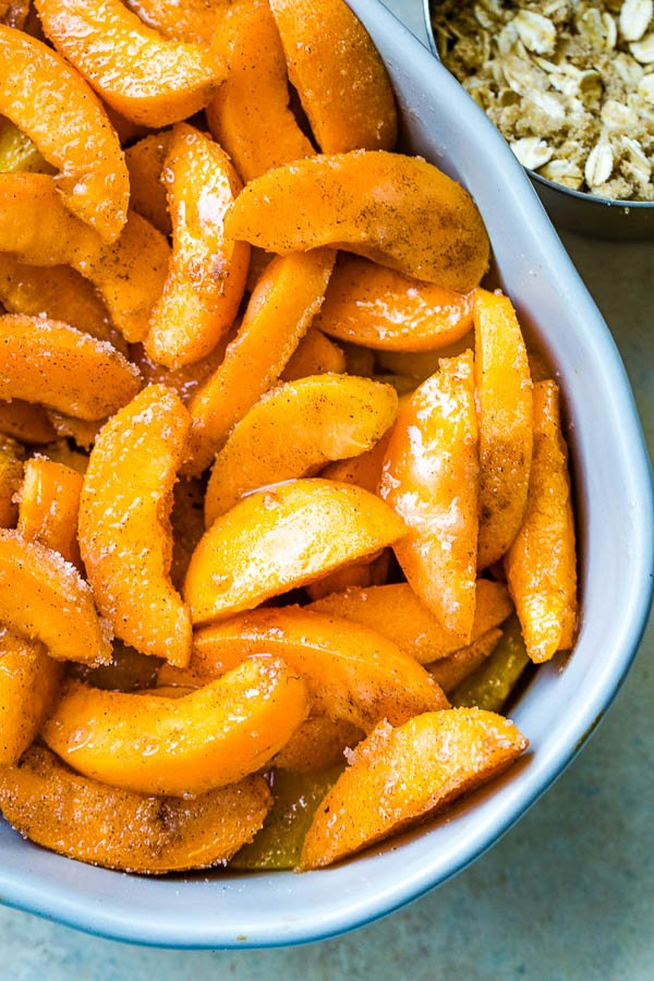 Juicy apricot slices tossed in sugar