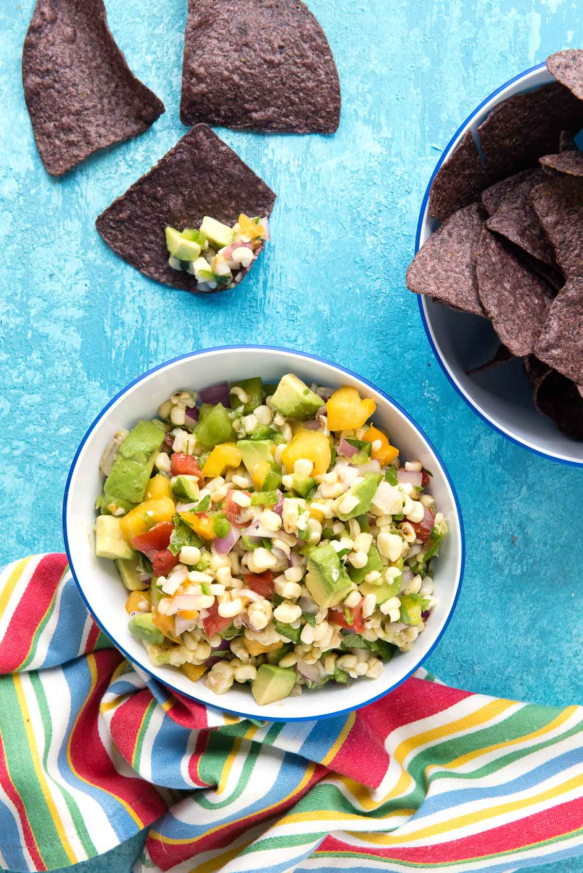bowl of corn salsa and chips