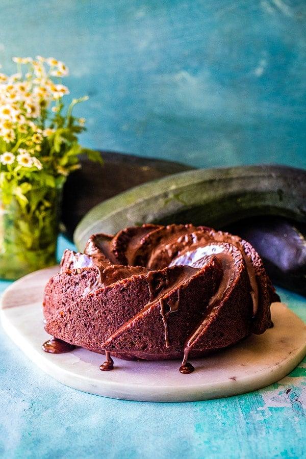 chocolate zucchini cake side view