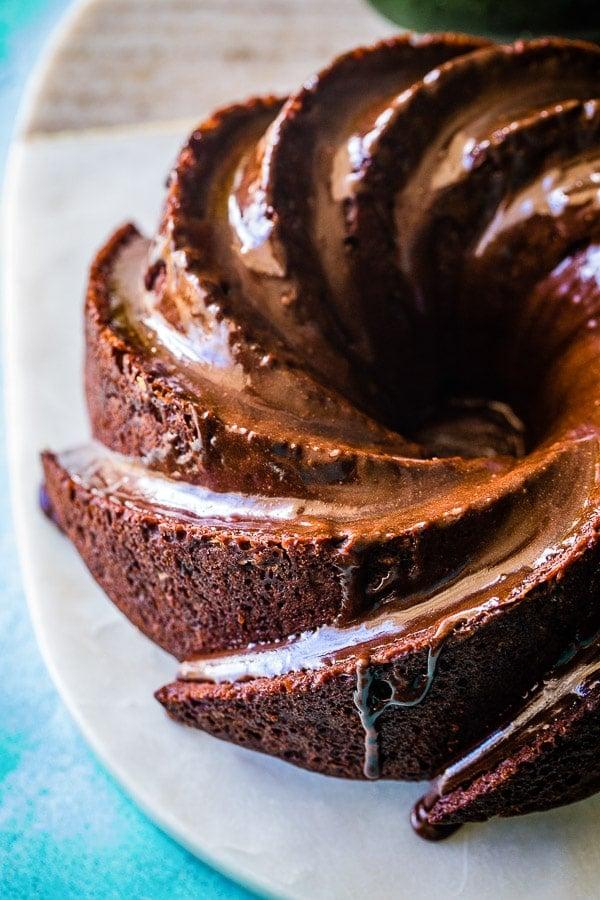 chocolate zucchini cake top view