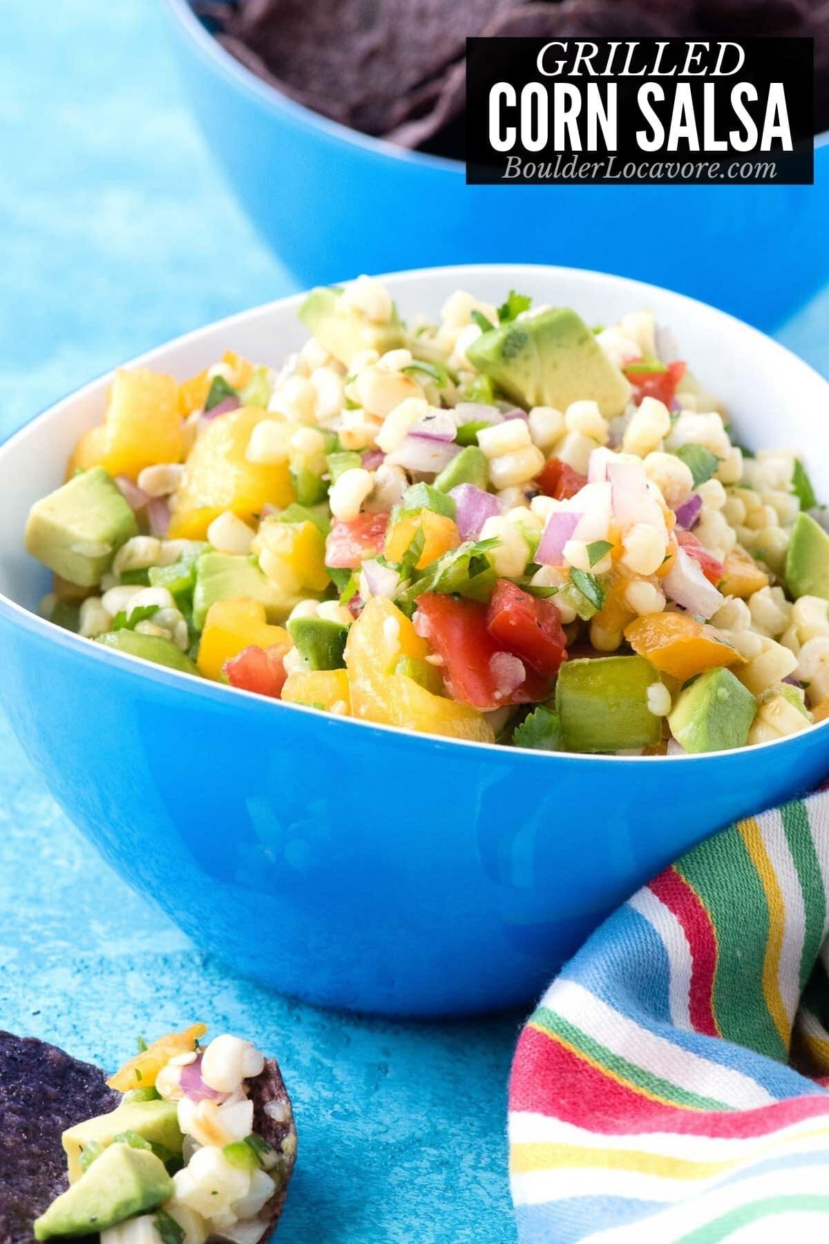 corn salsa in a blue bowl