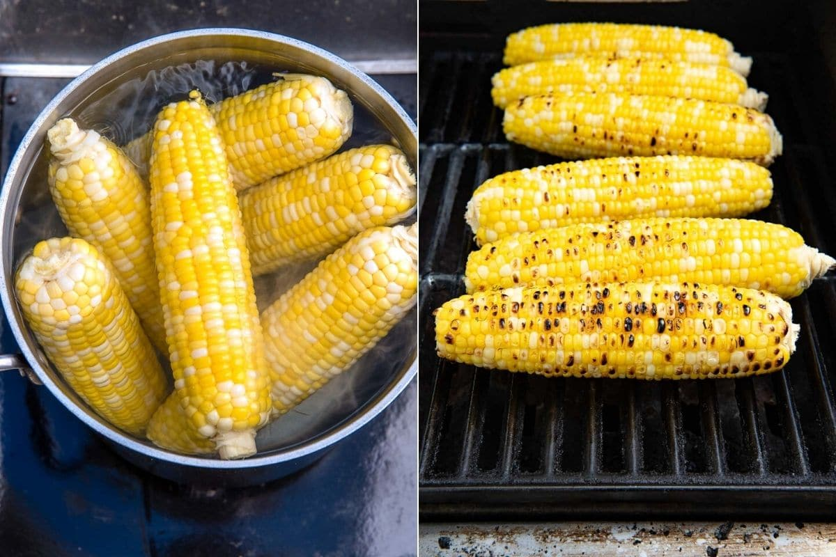 boiling corn and grilling corn