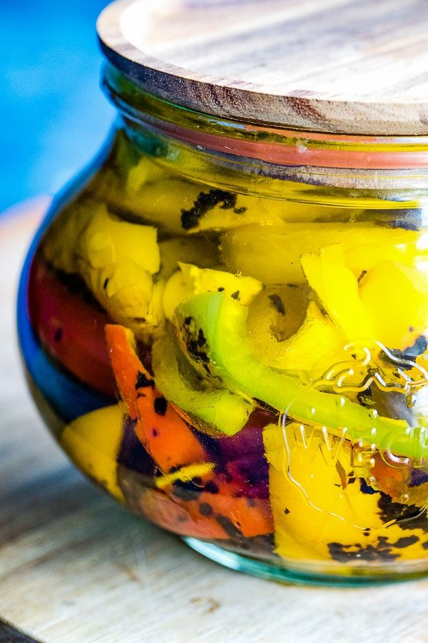 roasted peppers in jar close up
