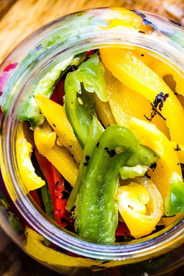 roasted peppers in jar sliced