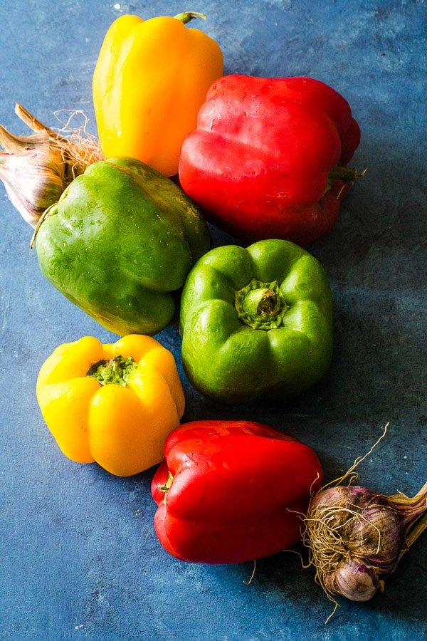 colorful bell peppers and garlic heads