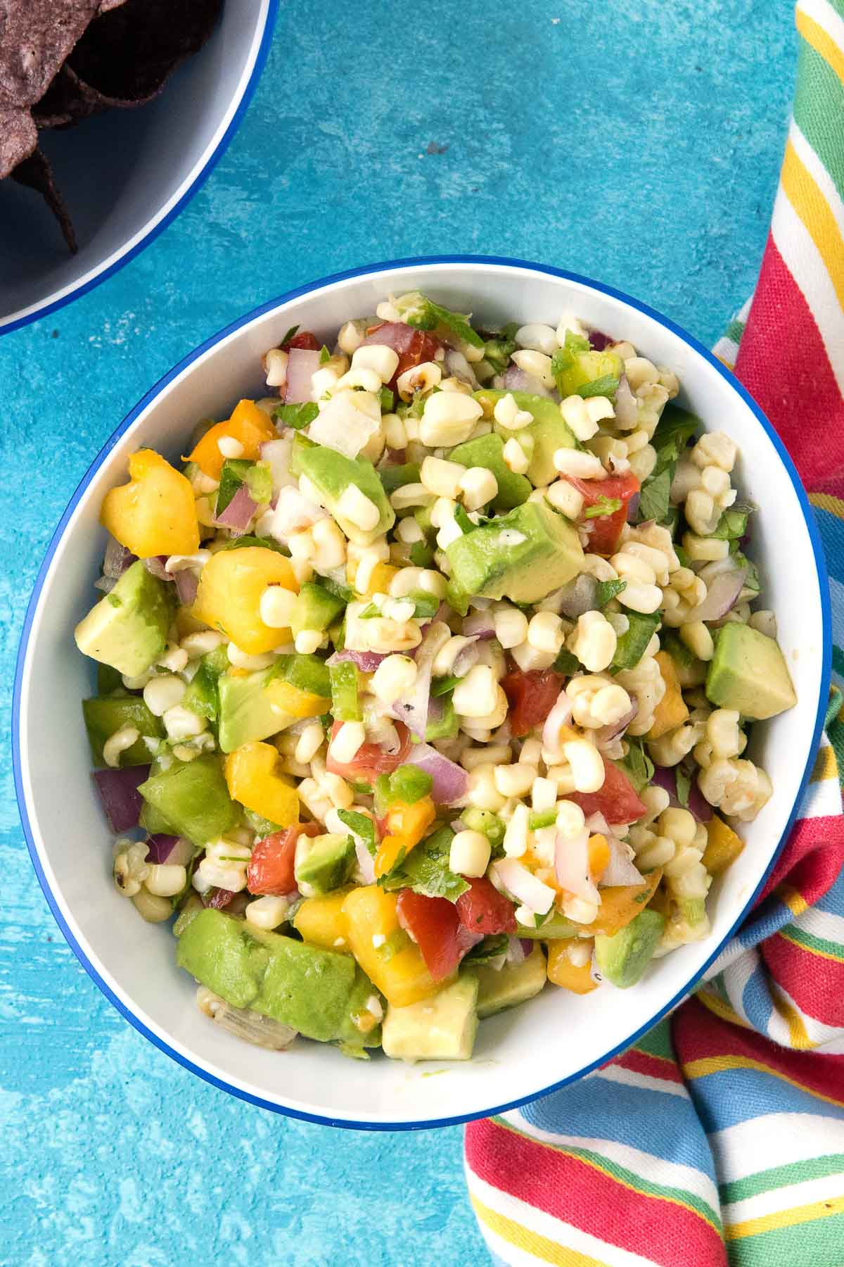 overhead view of corn salsa in a bowl