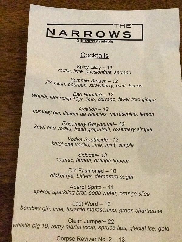 the narrows bar menu juneau alaska