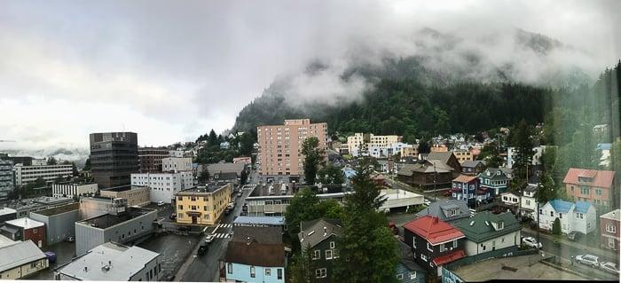 view of Juneau Alaska from Baranhof Hotel