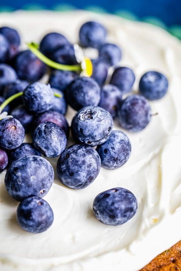 zucchini cake with blueberries garnish
