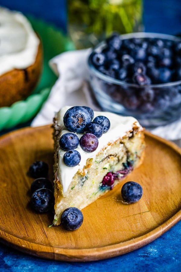 zucchini cake with blueberries slice