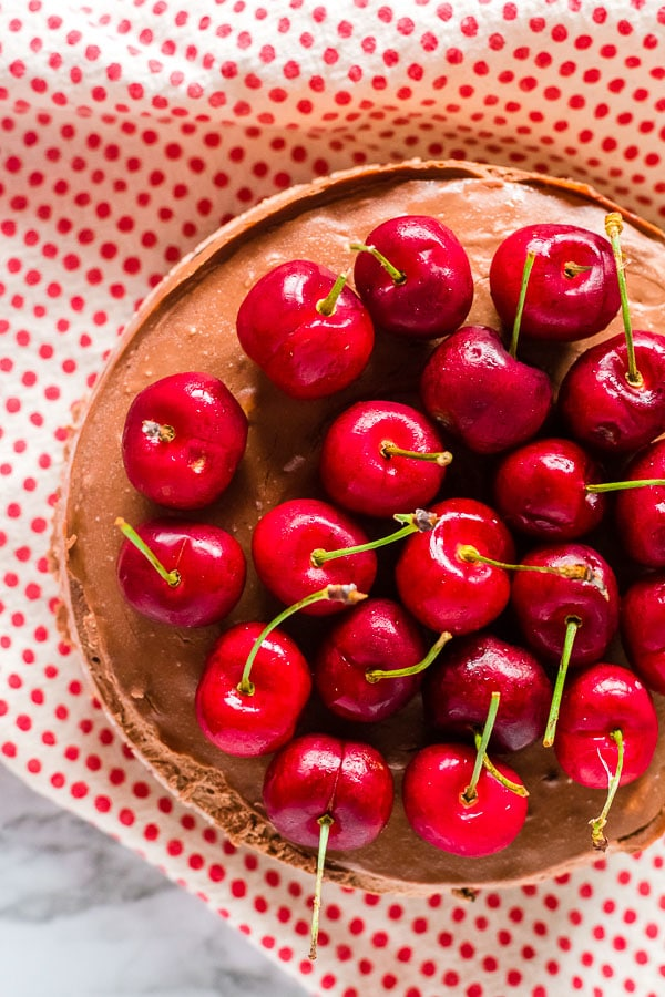 Chocolate Cherry Instant Pot Cheesecake with cherries top view
