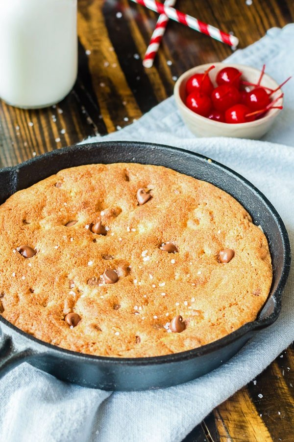 baked chocolate chip Pizookie or skillet cookie