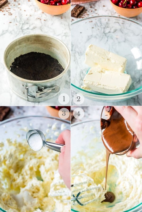 instant pot cheesecake recipe steps collage 1