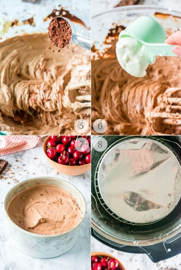 instant pot cheesecake recipe steps collage 2