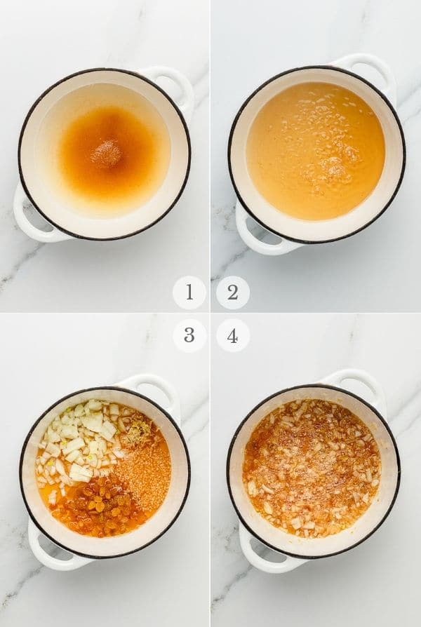 peach chutney recipe steps collage 1