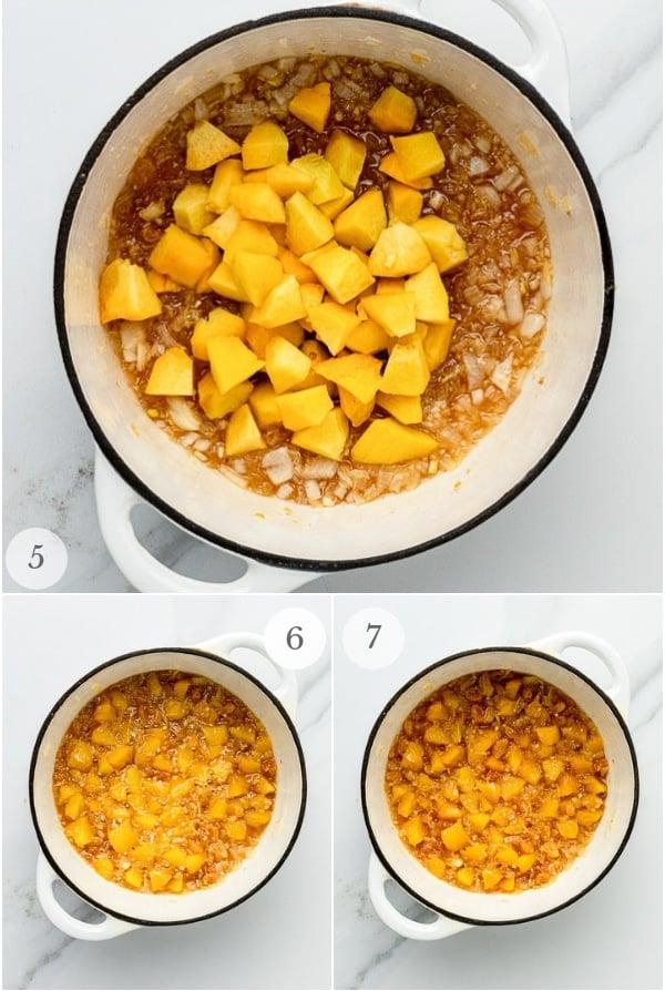 peach chutney recipe steps collage 2