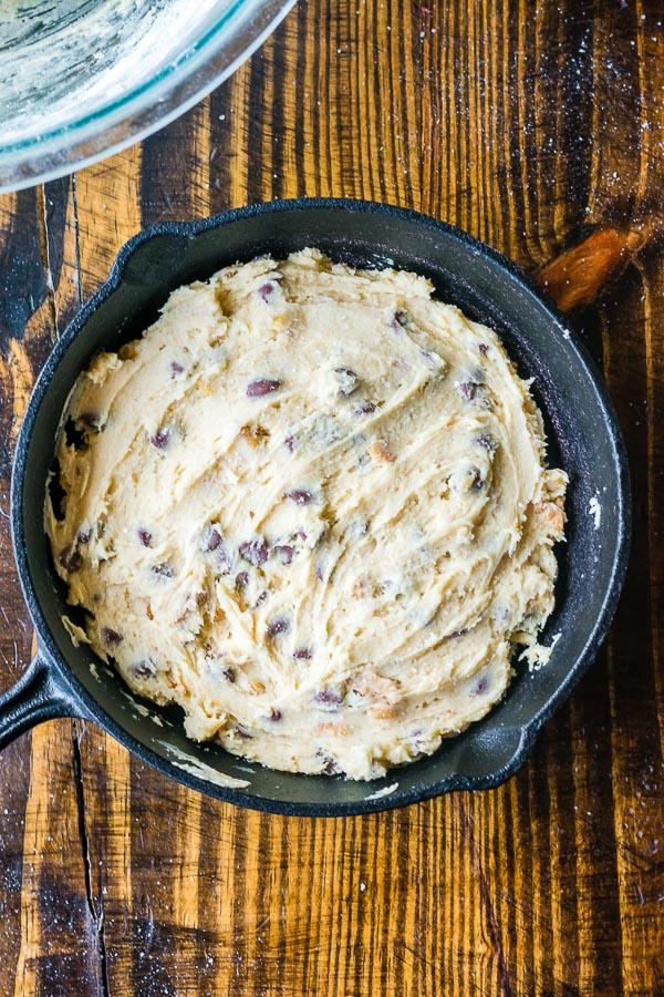 skillet cookie process shots dough in skillet