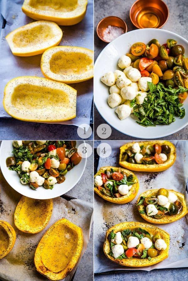 Baked Spaghetti Squash Caprese recipe process steps collage