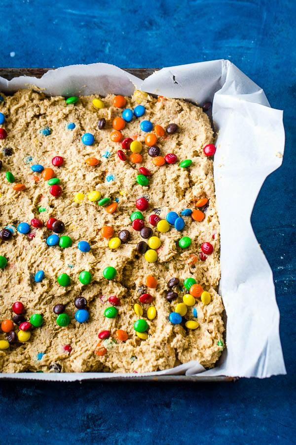Monster Cookie Bars in pan pre baking