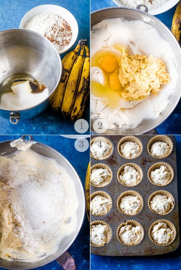 banana cupcakes recipe steps photo collage