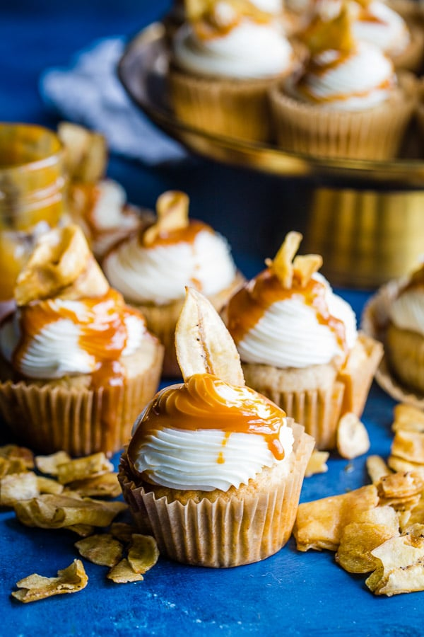 cupcakes drizzled with caramel and banana chips