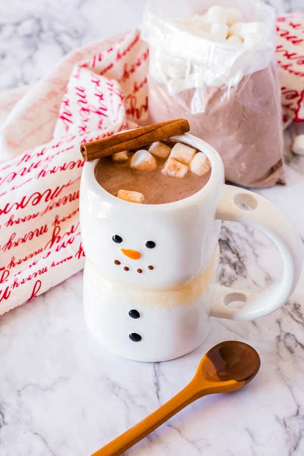 hot cocoa, marshmallows and cinnamon stick with holiday mug