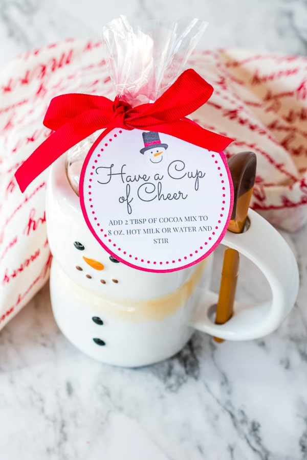 gift idea holiday mug with hot cocoa instruction label