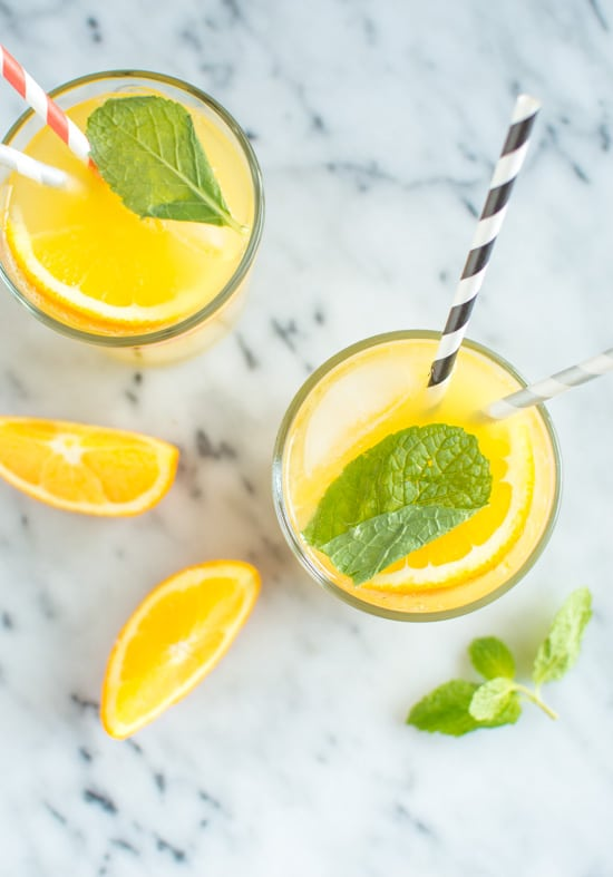 Orange Mint Coconut Water mocktail
