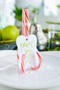 place card holder made with candy canes for the holidays
