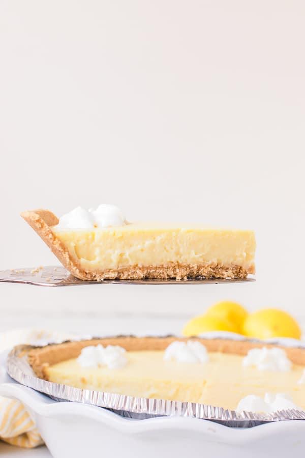 lemon pie slice on pie cutter