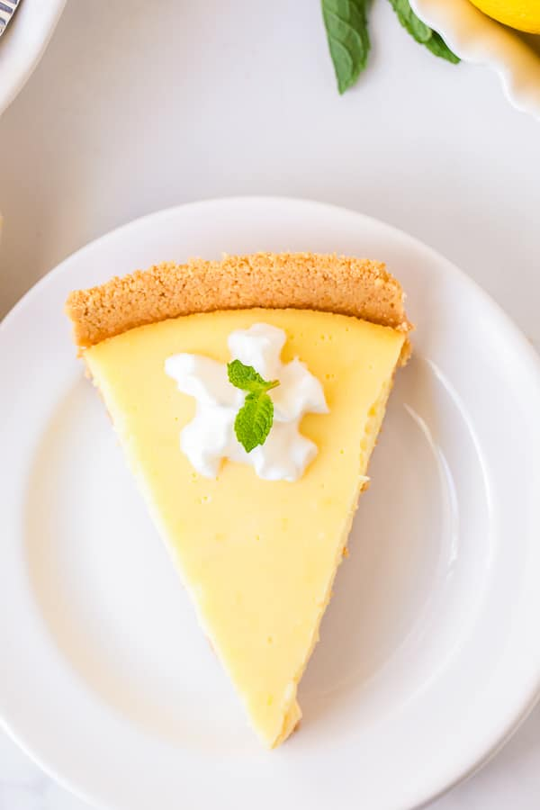 lemon pie slice on plate close up