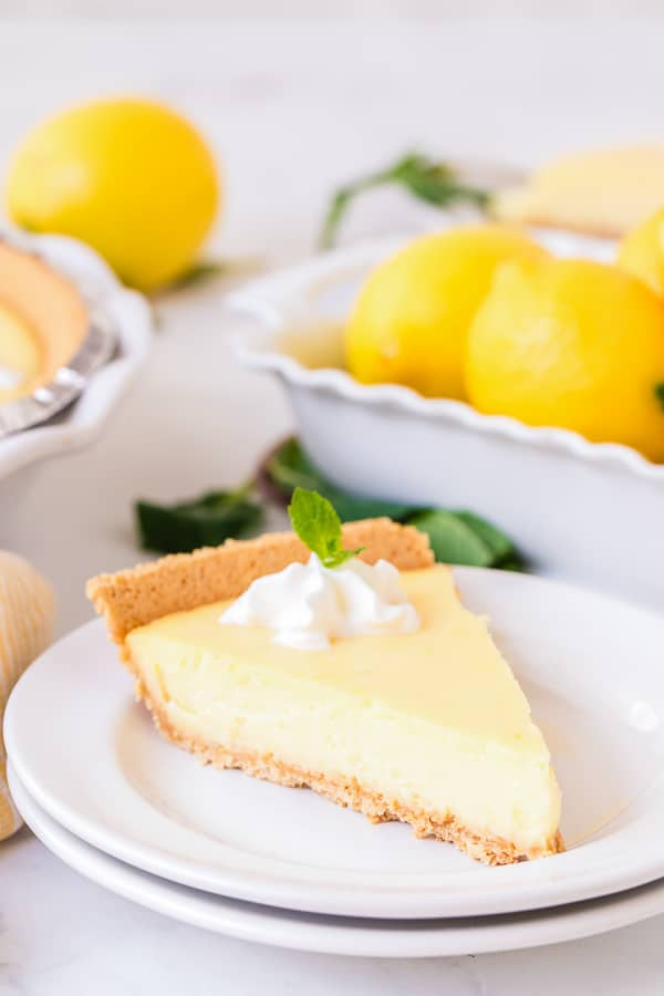 lemon pie slice on plate side view