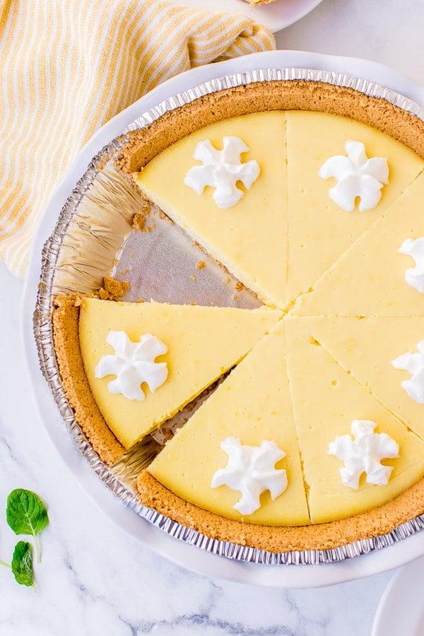 lemon pie whole pie sliced