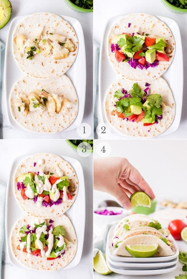 assembling fish tacos steps photos