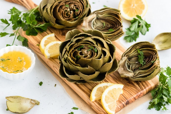 herb butter with artichokes