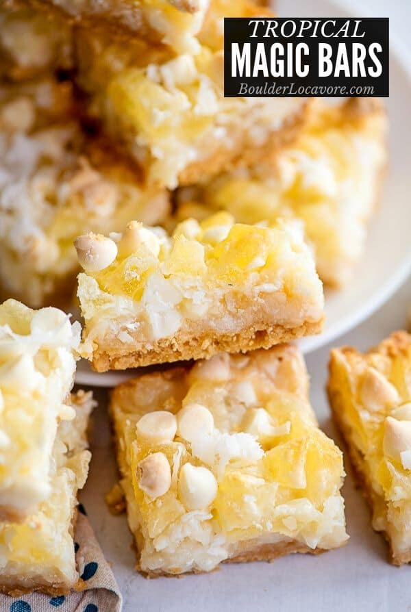 Magic Cookie Bars with pineapple and coconut title image