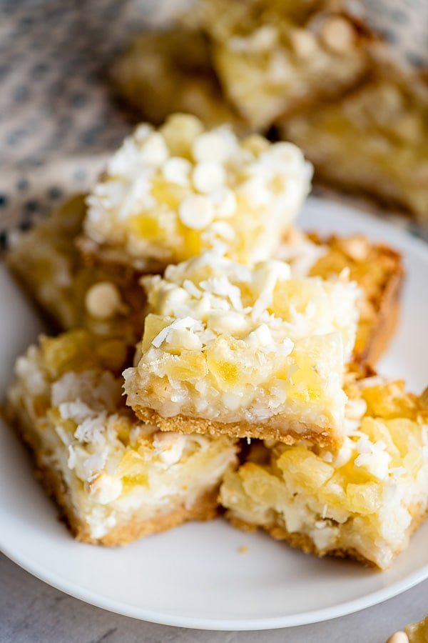 Magic Bars with pineapple and coconut