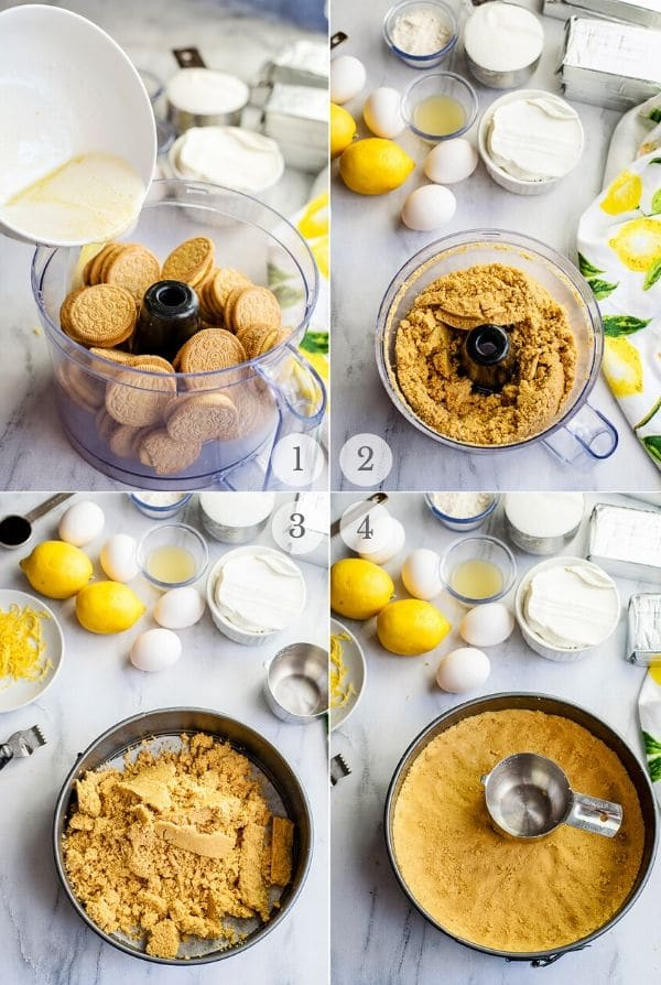 Recipe steps for making Lemon Cheesecake - 1-4