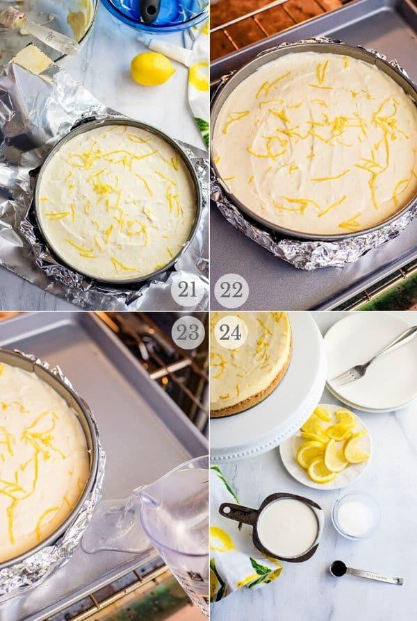 Recipe steps for making Lemon Cheesecake - 21-24
