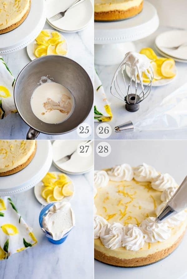 Recipe steps for making Lemon Cheesecake - 25-28