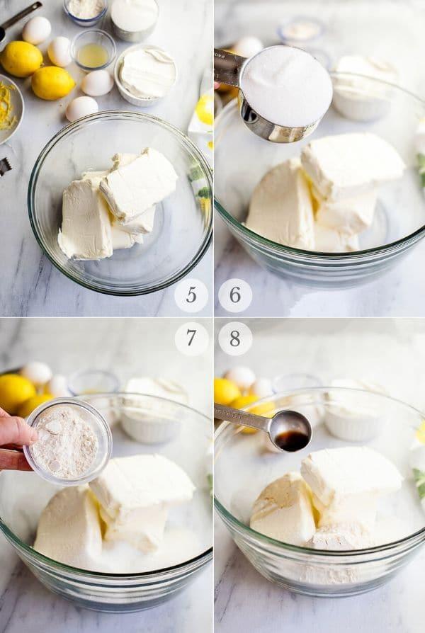Recipe steps for making Lemon Cheesecake - 5-8